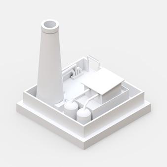 Isometrische karikaturfabrik im stil von minimal. weißes gebäude auf einer weißen oberfläche