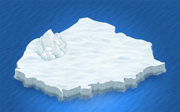 Isometrisches 3d-gelände des eises auf einem blauen ozeanhintergrund