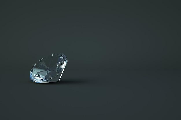 Isometrisches 3d-modell eines transparenten glasdiamanten. kostbarer transparenter stein liegt auf einem dunklen, grauen, isolierten hintergrund. 3d-grafik, nahaufnahme