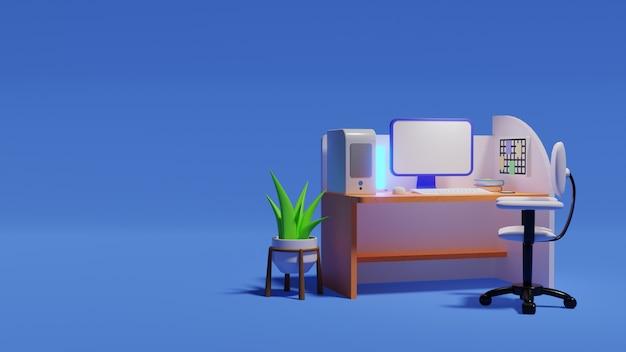 Isometrisches büro des 3d-renderings mit computer auf dem tisch