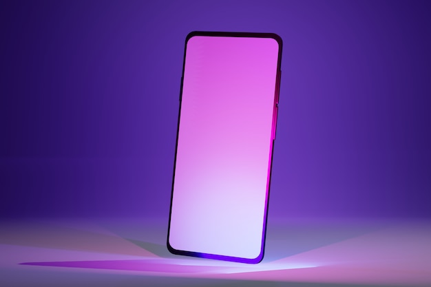 Isometrisches design des mobiltelefons mit leerem bildschirm. modell der modernen handyillustration