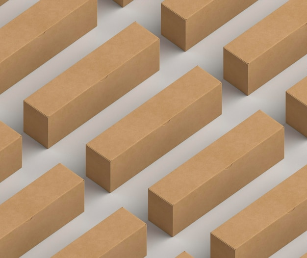 Isometrisches design pappkartons modell