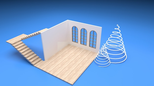 Isometrisches interieur des esstisches im modernen stil des leeren raums am fenster