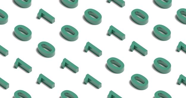 Isometrisches nahtloses muster mit grünen binärzahlen