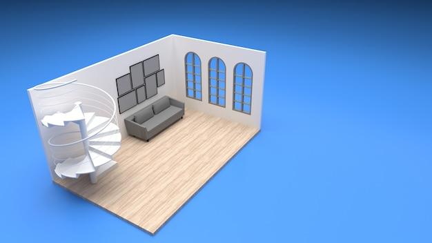 Isometrisches wohnzimmer im innenraum abgerundete fenster, wendeltreppe