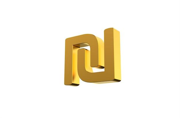 Israelisches währungssymbol schekel in 3d