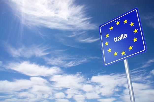 Italien-grenzschild mit wolkenhimmel. 3d-rendering