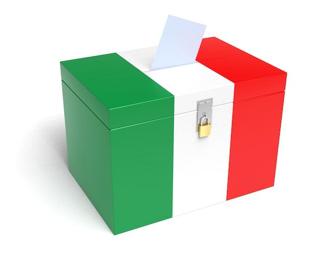 Italien-wahlurne mit italienischer flagge. isoliert auf weißem hintergrund.
