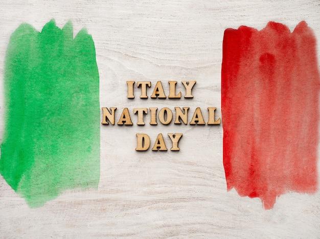 Italienische flagge. schöne grußkarte. nahansicht