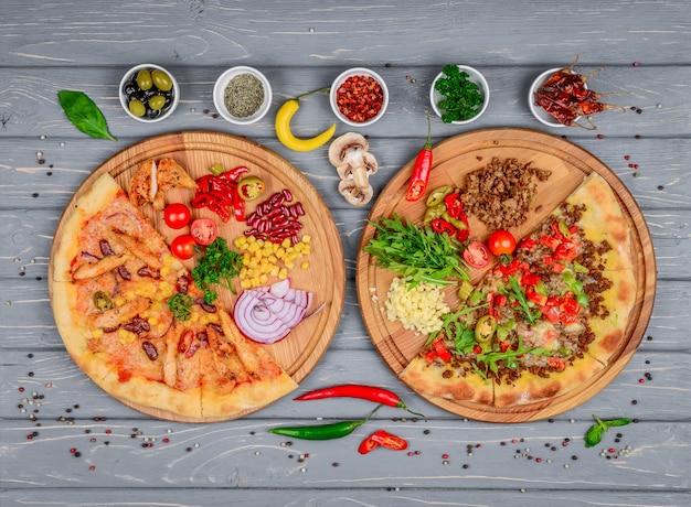 Italienische pizza und zutaten für pizza