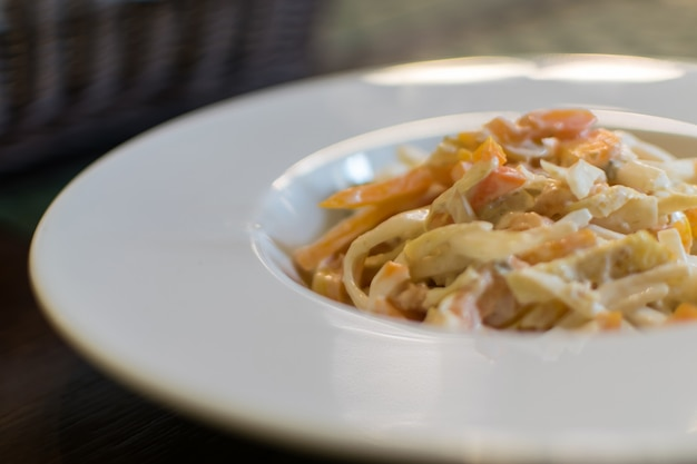 Italienischer meeresfrüchtesalat nahaufnahme