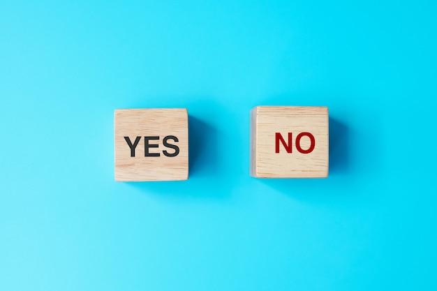 Ja- oder nein-block. antwort-, frage- und entscheidungskonzept