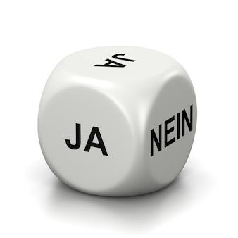 Ja oder nein weiße würfel, deutsche sprache