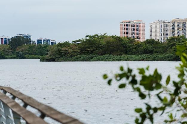 Jacarepagua-lagune in rio de janeiro. berge und gebäude im hintergrund. selektiver fokus.