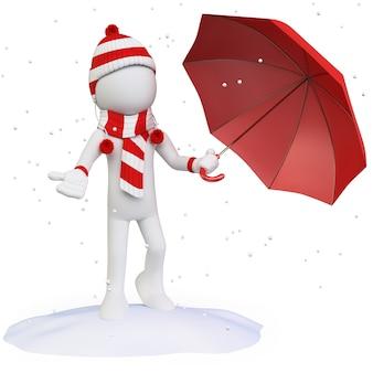 Jahreszeiten. winter. mann im schnee mit einem regenschirmhutschal und -handschuhen