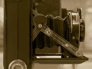 Jahrgang kamera mit faltenbalg