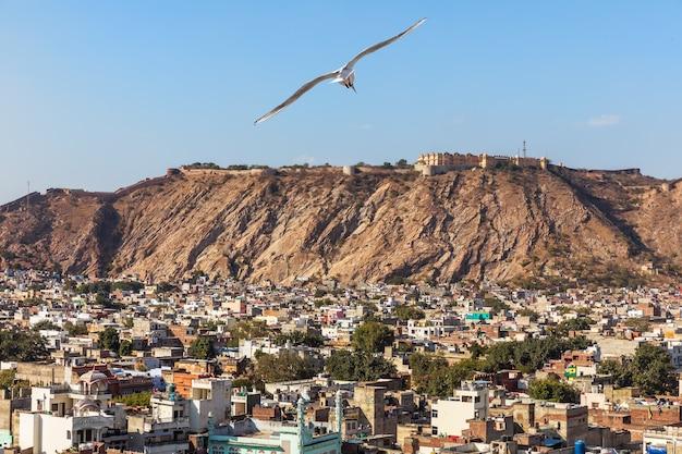 Jaipur gebäude und nahargarh fort auf dem hügel, jaipur, indien.