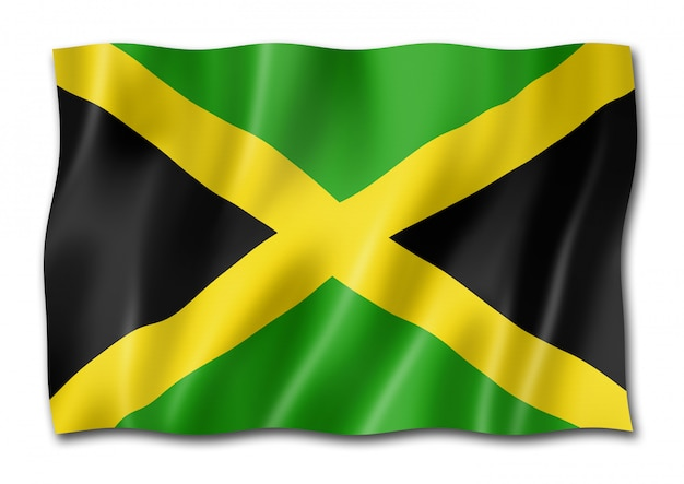 Jamaikanische flagge lokalisiert auf weiß