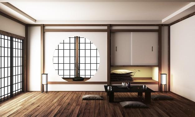 Japan-innenarchitektur, modernes wohnzimmer.