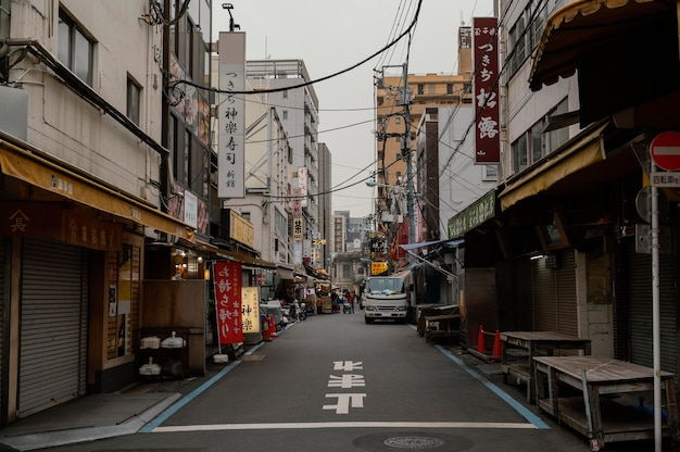 Japan straße und gebäude mit schildern