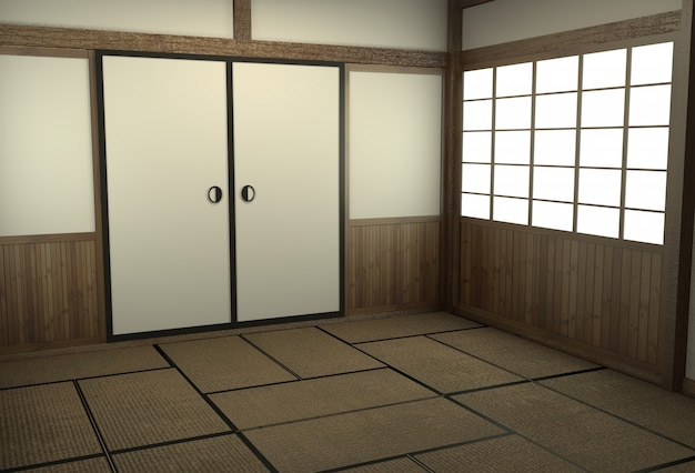 Japanische art des leeren raumes mit türjapan-art.