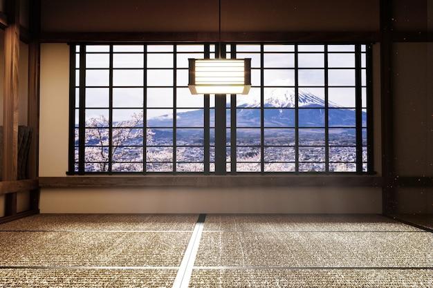 Japanische leere raum-tatami-matte das schönste entwerfen. 3d-rendering