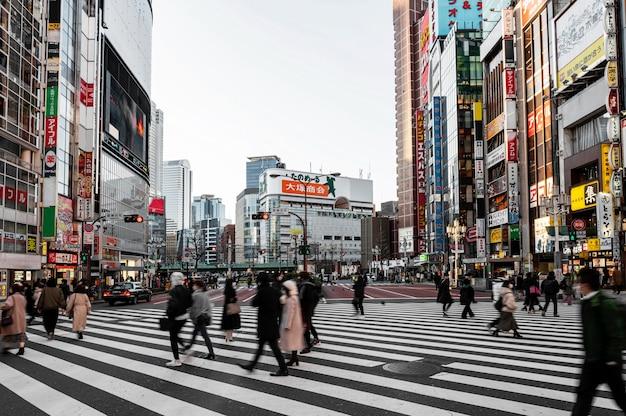 Japanische stadtlandschaftsleute