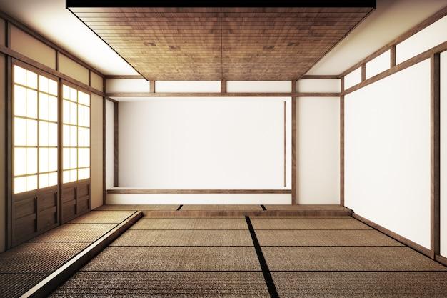 Japanischer ausstellungsraum und tatami-mattenboden .3d rende