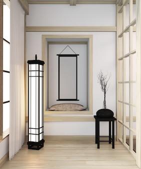 Japanischer innenraum des modernen raumes des zen mit hölzerner idee des regals des raumes japan und des bretterbodens. 3d-rendering