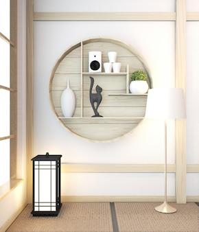 Japanischer innenraum des modernen raumes des zens mit hölzernem raum japan und tatami mat.3d wiedergabe des regals