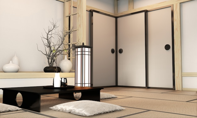 Japanischer stil des ryokan-wohnzimmers mit tatamimattenboden und -dekoration. 3d-rendering