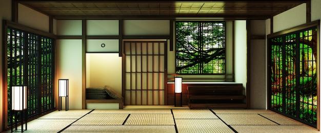 Japanischer stil großer wohnbereich im luxuszimmer oder im hotel im japanischen stil