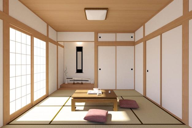 Japanischer wohnzimmerinnenraum im traditionellen und minimalen entwurf mit tatami mattboden