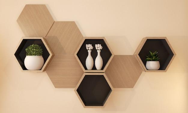 Japanisches design des hölzernen regals des hexagons auf wand, wiedergabe 3d