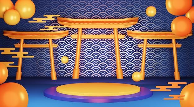 Japanisches traditionspodest des blauen geometrischen podiums.