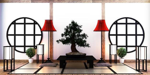 Japanisches wohnzimmer auf boden tatami matte