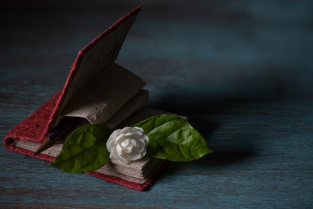 Jasminblüte, notizbuch und bleistift auf einer alten holzoberfläche.