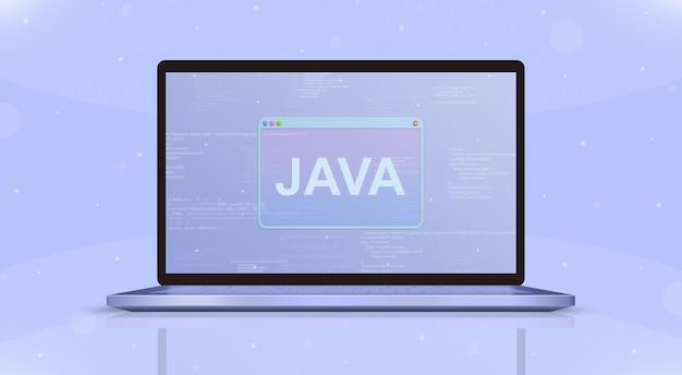 Java-symbol auf der vorderansicht des laptopbildschirms 3d