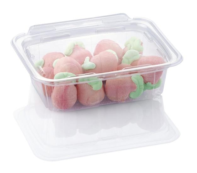 Jelibon in einem plastikbehälter, der mit beschneidungspfaden isoliert wird