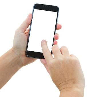 Jemandes hände, die modernes schwarzes smartphone halten und berühren, lokalisiert auf weißem hintergrund