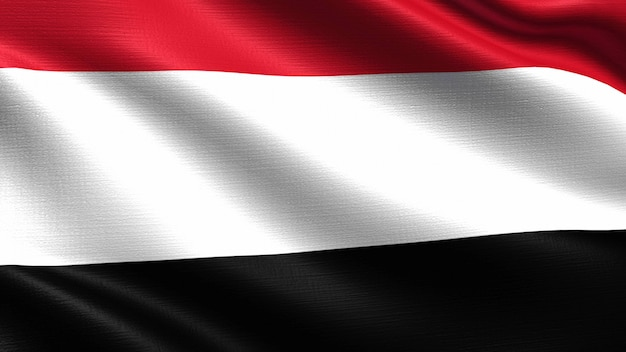 Jemen flagge, mit wehenden stoff textur
