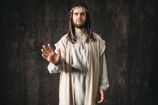 Jesus christus streckte seine hand aus