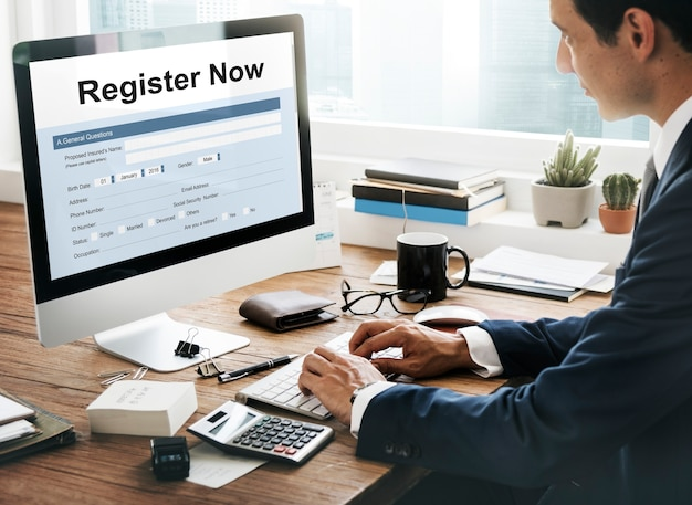 Jetzt registrieren anwendungsinformationskonzept