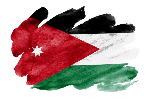 Jordanien-flagge wird in der flüssigen aquarellart dargestellt, die auf weiß lokalisiert wird