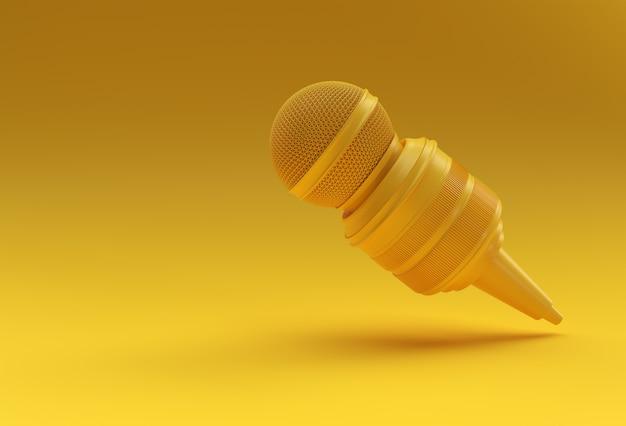 Journalismus-konzept. live-nachrichten-mikrofon mit kamera-3d-rendering-hintergrund