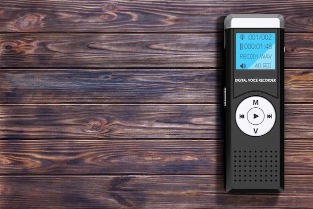Journalist digital voice recorder oder diktiergerät auf einem holztisch. 3d-rendering