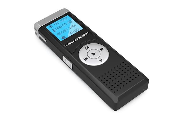 Journalist digital voice recorder oder diktiergerät auf weißem hintergrund. 3d-rendering