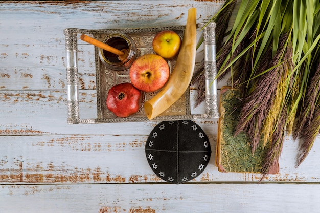 Jüdischer feiertagshonig und -äpfel mit granatapfel torah buch