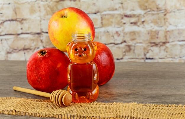 Jüdisches neujahr. rosh hashana-äpfel, honiggranatapfelfeiertag