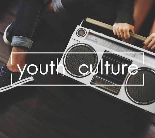 Jugend-kultur-weinlese-vektor-grafik-konzept